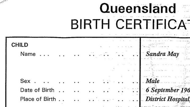 The section of the birth certificate listing Sandra Doyle as male.