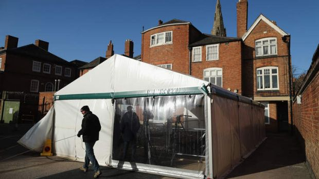 A marquee sits over the spot where the remains of King Richard III were found in a car park in Leicester, England.