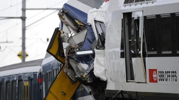 Two trains have collided head-on in Granges-pres-Marnand in western Switzerland.