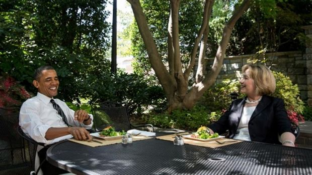 President Barack Obama has lunch with former Secretary of State Hillary Clinton on the patio outside the Oval Office.