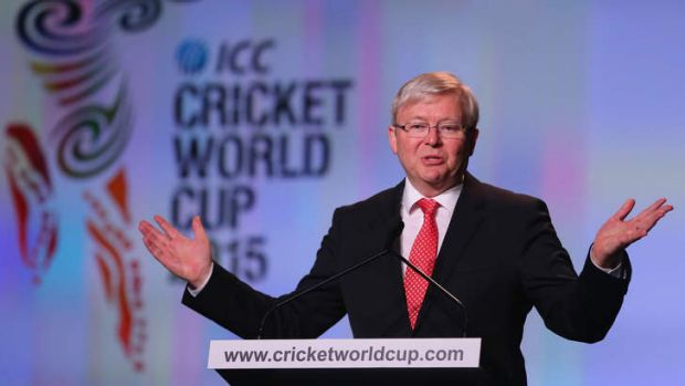 Australian Prime Minister Kevin Rudd speaks during the Official Launch of the ICC Cricket World Cup 2015.