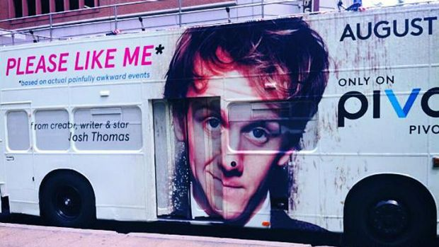 Josh Thomas' face is all over New York buses, promoting <i>Please Like Me</i> on Pivot.