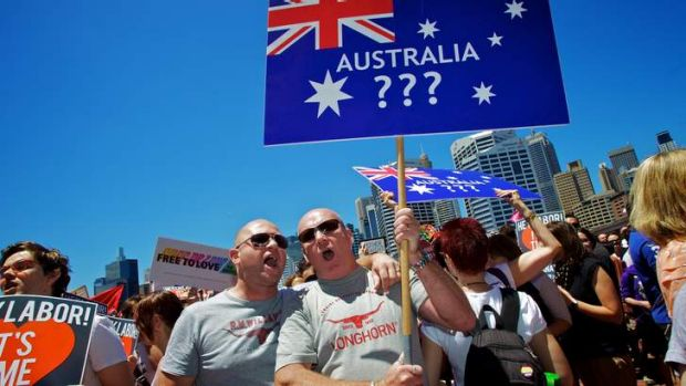 Protesters in Sydney call for same sex marriage.