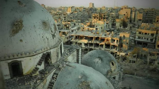 Symbolic victory: The devastated rebel stronghold of the Khalidiya district in Homs.