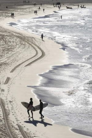 Come on in: Balmy temperatures lure surfers to Bondi Beach.