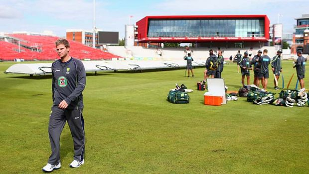 Steve Smith leaves the field during a nets session at Old Trafford on Tuesday.