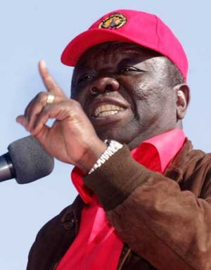 Morgan Tsvangirai at an election rally in the capital Harare.