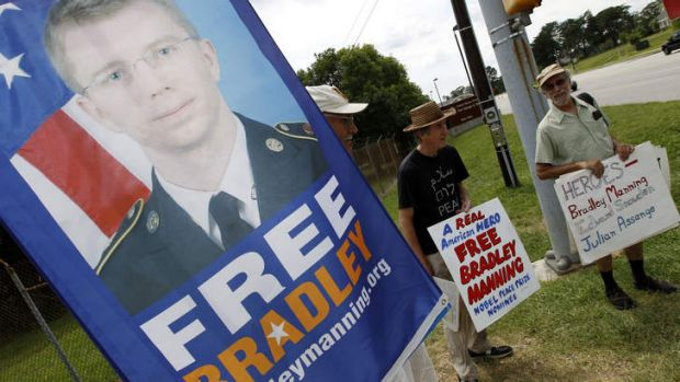 Supporters of Army Pfc  Bradley Manning protest outside of the gates at Fort Meade, Maryland.