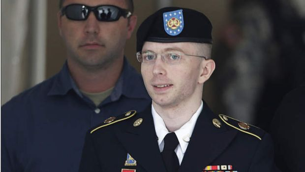 US Army Private First Class Bradley Manning departs the courthouse at Fort Meade, Maryland after his guilty verdicts ...