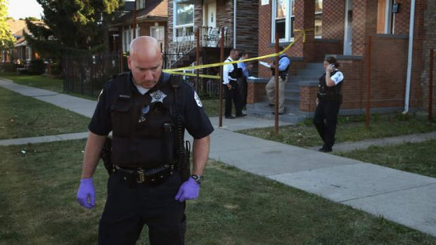 Crime scene: The cost of fighting crime has added to Chicago's financial stress.