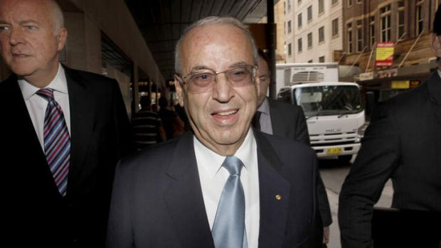 Eddie Obeid arrives at the ICAC hearing flanked by his lawyers.