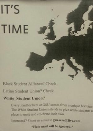 A flyer for a White Students Union at Georgia State University in the US.