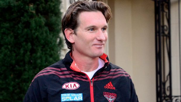 James Hird leaves his Toorak home this morning. The Bombers have dismissed Dean Robinson's claims about the coach's ...