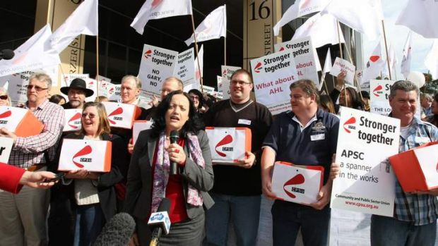 Community and Public Sector Union national secretary Nadine Flood addresses a protest in 2011.