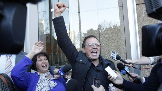 Paul Cachia yells for joy after a life sentence for Roger Dean.