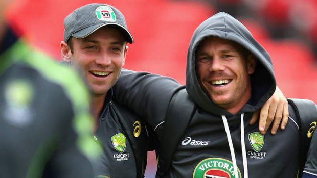Phil Hughes (left) with the man who replaced him in the Australian team, David Warner.