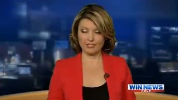 "WIN News Canberra presenter Kerryn Johnston warned viewers she was going to sound ""like a drunk"" during a late night ..."