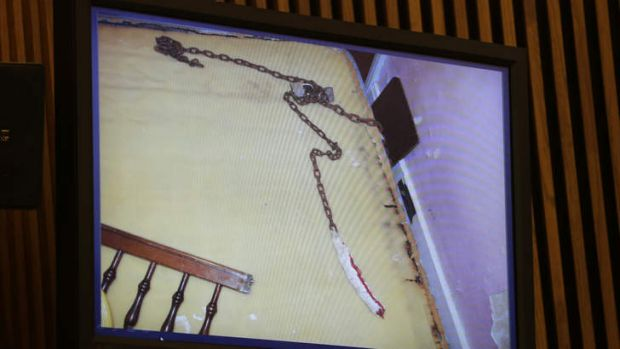 Chains found in a bedroom are shown during the sentencing phase for Ariel Castro in Cleveland. Castro.