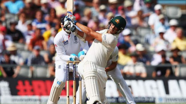 Lusty hitting: Mitchell Starc added quick-fire runs to Australia's total.