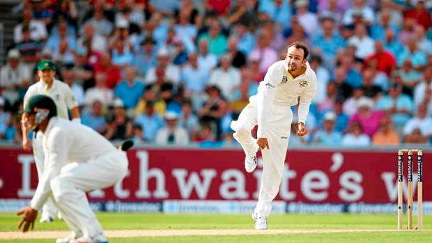Recalled off-spinner Nathan Lyon looked dangerous with the ball.