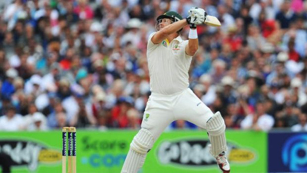 Dismissed: Shane Watson plays an uppercut down to third man.
