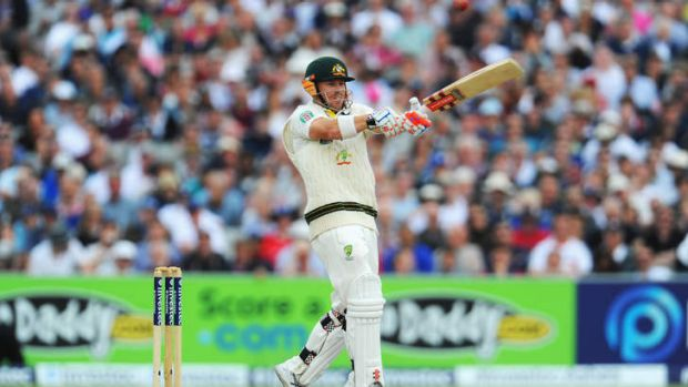 Holing out: David Warner of Australia plays the hook shot that led to his dismissal.