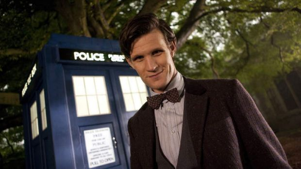 "Ex-Doctor Who Matt Smith in front of the famed ""police box""."