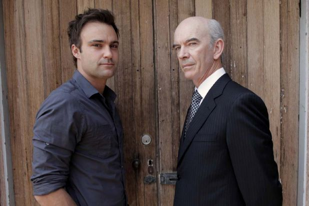 Patrick with his on-screen father played by Nicholas Hope.