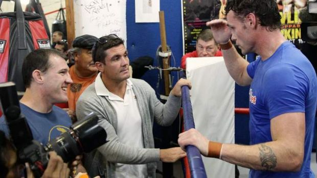 """""""I don't think we've had great support from the NRL"""" Gallen pictured with world champion boxer Daniel Geale."""