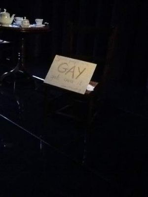 A photograph of <i>The American Plan</i> actor Mark Edel-Hunt's protest sign was posted on the St James Theatre's ...