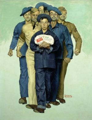 Norman Rockwell's 1941 painting <i>Willie Gillis: Package from Home</i>, is among the art works listed for sale on ...