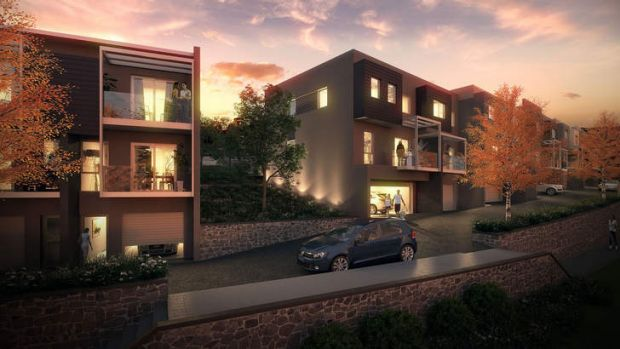 Panorama... consisting of six-storey and four-storey apartment buildings and eight two- and three-storey townhouse buildings.