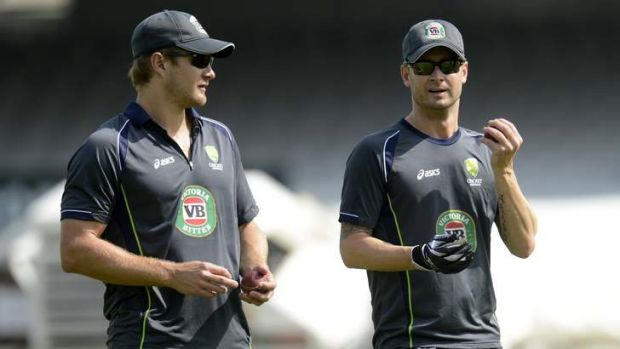 """""""I don't care what's happened in the past"""": Shane Watson with captain Michael Clarke before the Lord's Test."""