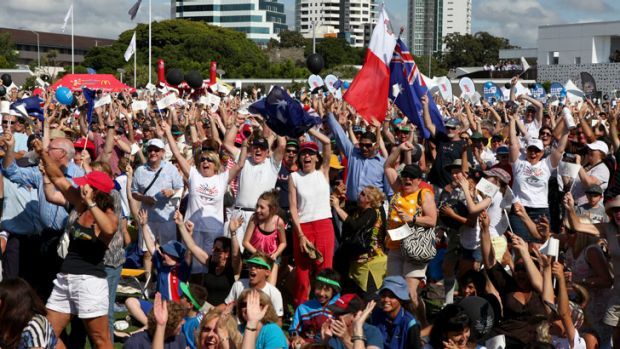 In November 2011, Gold Coast residents celebrate their city winning the bid to host the 2018 Commonwealth Games.