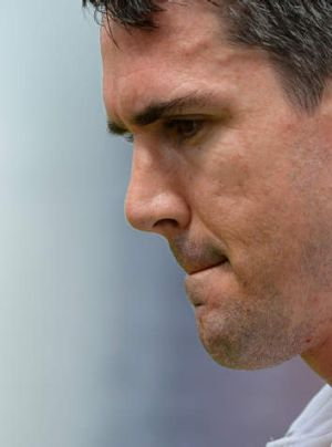 Deep in thought: England's Kevin Pietersen reacts after losing his wicket.