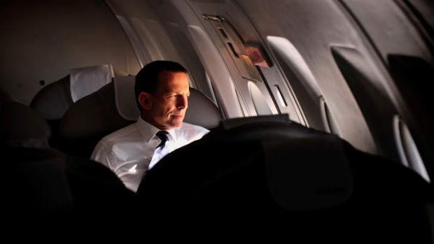 This photo, used in a campaign ad, shows Tony Abbott on the campaign trail flying from Melbourne to Sydney on a private ...