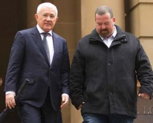 Committal hearing: Ron Medich, left, outside court on Thursday.