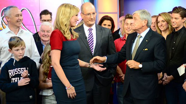 Kerry Stokes on the <i>Sunrise</i> set for Melissa Doyle's last day as co-host.