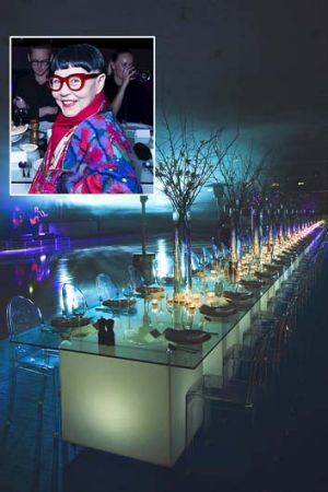 Long way: Designer Jenny Kee (insert) and dining at Macquarie Centre Ice Rink.