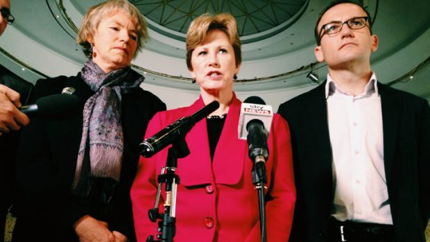 Greens leader Christine Milne, centre launches the party's election campaign ad blitz with Melbourne Greens MP Adam ...