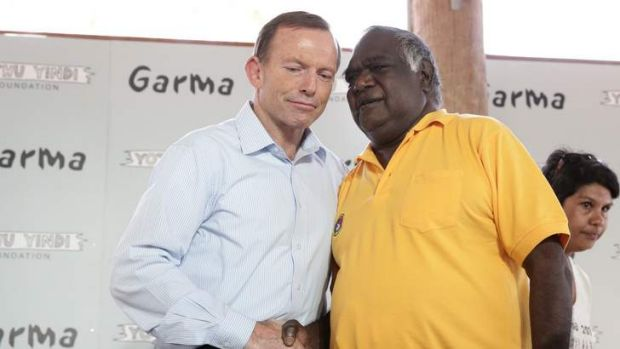 Opposition Leader Tony Abbott meets with Galarrwuy Yunupingu, chair of Yothu Yindi Foundation, during his visit to ...