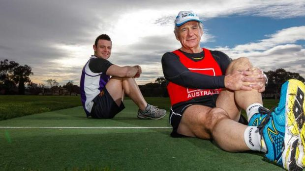 David Griffith (left) is running in the City2Surf and has raised $45,000 for the Australian Cancer Research Foundation. ...
