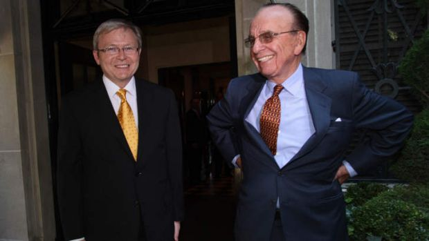 Prime Minister Kevin Rudd and Rupert Murdoch in New York.