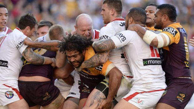 Tense affair: A brawl erupts during between the Brisbane Broncos and the St George Illawarra Dragons at Suncorp Stadium.