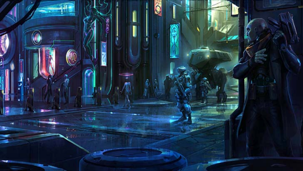 A concept image for the city in Satellite Reign.