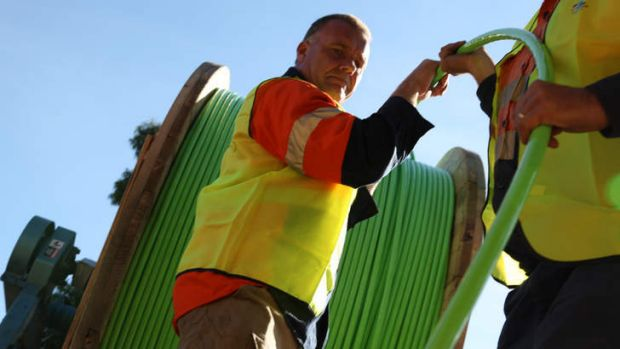 NBN fibre optic cable gets installed in South Morang, Melbourne.