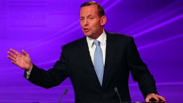 """""""Mr Abbott pledges to make a decision on the site of a second airport for Sydney""""."""