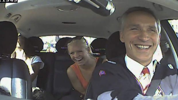 Norwegian Labour Party shows Norwegian Prime Minister Jens Stoltenberg (right) acting as a taxi driver in Oslo, Norway ...