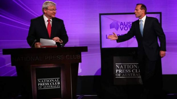 Head-to-head: Opposition Leader Tony Abbott, right, and Prime Minister Kevin Rudd.