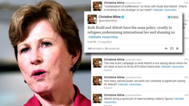 Was she the real winner? ... Senator Christine Milne was vocal during last night's election debate.